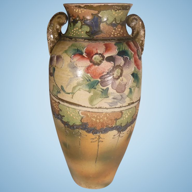 Hand Painted Floral Moriage Vase Penny Candy Antiques Ruby Lane