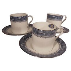 Set of Three Blue and White Aynsley Demitasse Cups and Saucers Blue Mist Pattern