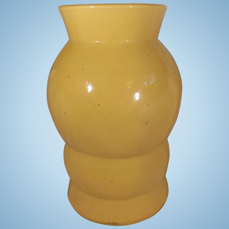 Large Bright Yellow Mid Century Modern Pottery Vase Bold Design