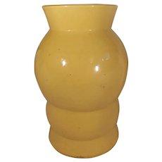 Large Bright Yellow Mid Century Modern Pottery Vase Bold Design