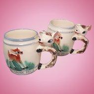 Pair of Figural Deer Handle Children's Mugs Always Drink Milk