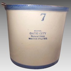 Gate City Blue and White Natural Stoneware Crock Water Filter