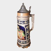 Tall Musical German Beer Stein with Pewter Lid Swiss Thorens Movement