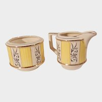 Vintage Sadler Yellow White and Gold Sugar and Creamer Set Pattern 3077