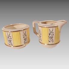 Vintage Sadler Yellow White and Gold Sugar and Creamer Set Pattern 3077