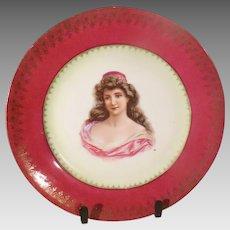 Royal Vienna Style Portrait Plate Beautiful Woman