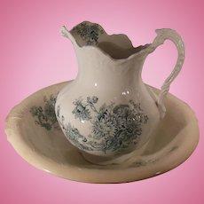 Buffalo Pottery Wash Bowl and Water Pitcher Chrysanthemum Pattern Green