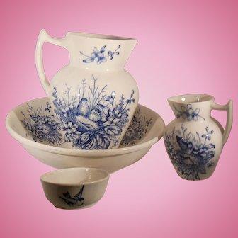 Four Piece Blue Transfer Wash Set Blue Birds and Flowers