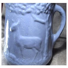 Blue 1800's Deer & Fawn Relief Two Part Mold Pottery Pitcher