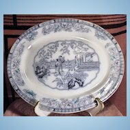 19th Century Ashworth Transferware Platter Chinese Pattern