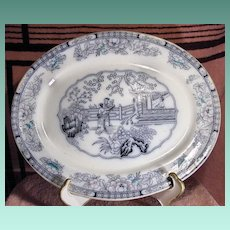 19th Century Ashworth Transferware Platter Chinese Pattern