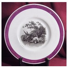 Early 19th Century Pink Lustre Luster Plate Sleeping Dog with Game Birds