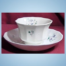 19th Century Early English Sprig Handleless Cup and Saucer with Small Blue Flowers