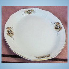 Globe China Company Oval Platter with Blue Birds in Hearts and Flowers