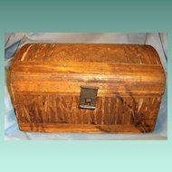 19th Century Straw Decorated Pine Domed Top Document Box
