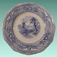 Light Blue Transferware Plate Eon Pattern by Wooliscroft C 1850