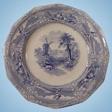 Light Blue Transferware Plate Eon Pattern by Wooliscroft C 1850