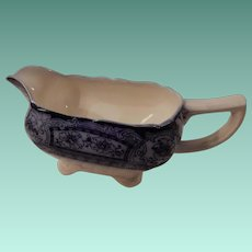Flow Blue Gravy Boat Davenport C 1900 Pattern of Hollinshead & Kirkham