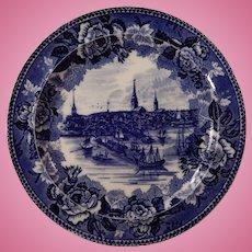 English Historic Dark Blue Transferware Plate Wedgwood Boston in 1768
