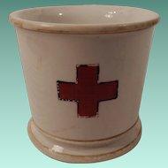 Unusual Early Pottery Red Cross Barbershop Shaving Mug Circa 1900