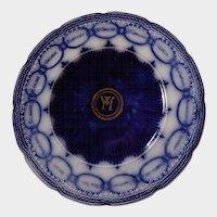 English Stafforshire Dark Flow Blue Chain of States Martha Washington Plate