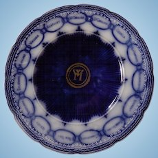 English Stafforshire Dark Flow Blue Chain of States Martha Washington Plate