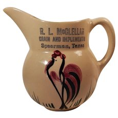 Watt Pottery Rooster Pattern Pitcher #15 Advertising McClellan Grain