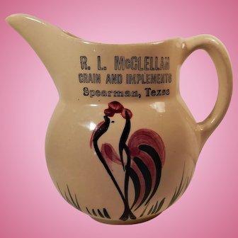 Watt Pottery Rooster Pattern Pitcher #15 Advertising McClellan Grain