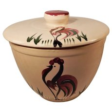 Watt Pottery Large Rooster Pattern Ice Bucket with Lid