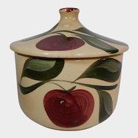 Watt Pottery Apple Pattern Grease Jar #01 Three Leaves
