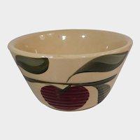 Watt Pottery Apple Pattern Mixing Bowl #6 Ribbed Bottom Three Leaves