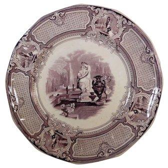 Pair of Purple Transferware Plates Corrella Pattern by Barker & Son C 1850