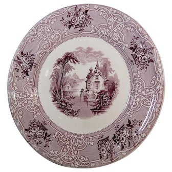 Pair of Purple Transferware Plates Roselle Pattern by J. Meir & Son Circa 1848