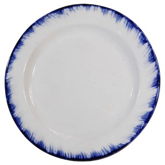 19th Century Adams & Sons Blue Feather Edge Plate