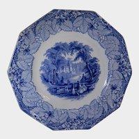 Light Blue Transferware Plate Vista Pattern by F M & Co C 1850