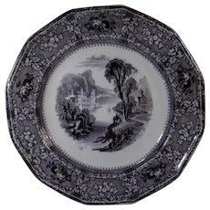 Black Transferware Plate Milan Pattern South Wales Pottery