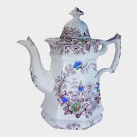 19th Century Wedgwood Polychrome Transferware Staffordshire Ironstone Teapot Tyrol Pattern