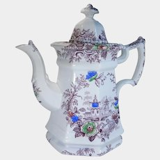 19th Century Wedgwood Polychrome Transferware Staffordshire Ironstone Teapot Tyrol Pattern