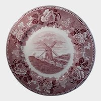 Wedgwood Old Windmill Nantucket Island Pink Transferware Plate