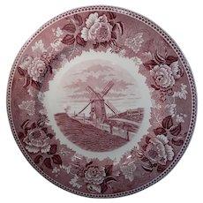 Wedgwood Old Windmill Nantucket Island Pink Transferware Plate