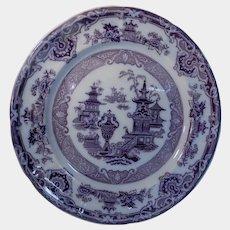 Purple/Mulberry Transferware Plate The Temple Pattern by Podmore Walker