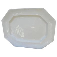 Large Antique White Ironstone Octagonal Platter 17 1/2 Inches