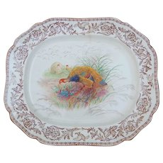 Huge Royal Cauldon Brown Transfer Turkey Platter Staple Repair