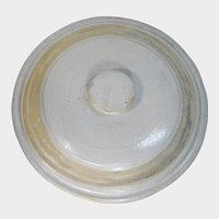 Early Cream and Yellow Banded Stoneware Crock Lid