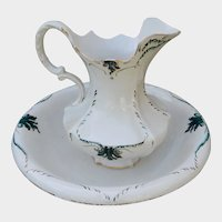 East Palestine Pottery Pitcher and Bowl Basin Wash Set