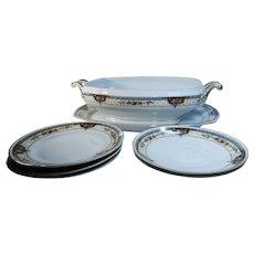 Czechoslovakian China Platter Vegetable Bowl Dessert Plates Saucers