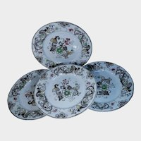 Set of Four Francis Morley & Co. Transferware Plates Aurora Pattern