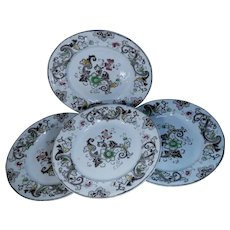 Set of Four Francis Morley & Co. Transferware Plates Aurora Pattern