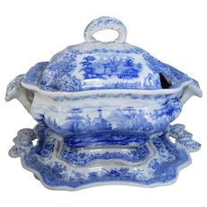 Small Blue Tyrolean Transferware Covered Tureen William Ridgway & Co.