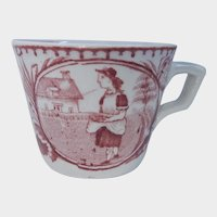 Two Allerton's Little May with Apron Red Transferware Cups